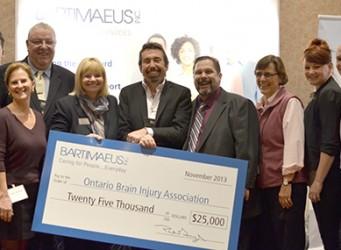 Bartimaeus Inc. donates $25,000 to Ontario Brain Injury Association