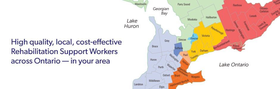 Map of Rehabilitation Support Workers across Ontario and service directors