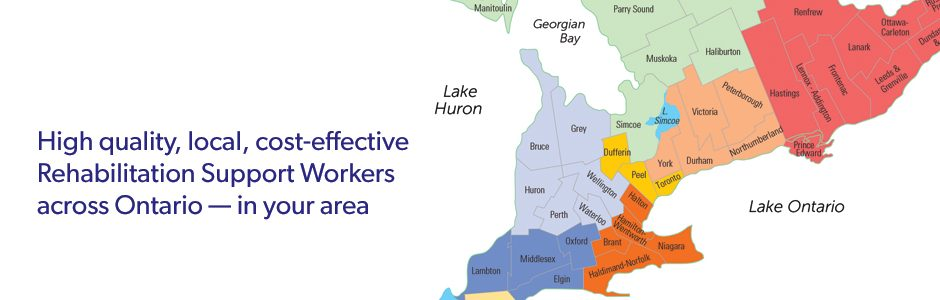 Map of Rehabilitation Support Workers across Ontario